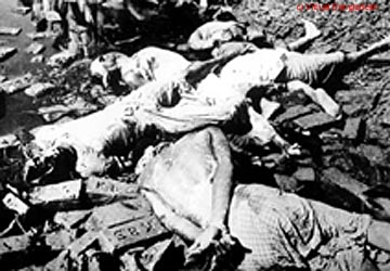 The aftermath of the crackdown. Estimates range from a million to three million killed by the Pakistani army during the duration of the Liberation war.