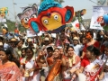 Colour full rally arranged by different cultural organization in Bogra. The first day of Bangla Year 1416. The,rally is decorated with paper made colorful mask, owl, elephant, and crocodile figures to mark 'Pohela Boishakh. Bogra, Bangladesh. April 15 2009